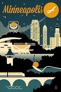 product image for Minneapolis, Minnesota, Retro Skyline 56053 (12x18 SIGNED Print Master Art Print, Wall Decor Poster)