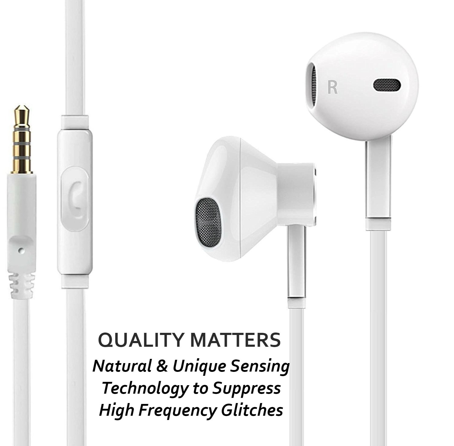 Headphones with Microphone, Certified PowerBoost In-Ear 3.5mm Noise Cancelling Sport Stereo Earphones Headset for iPhone iPad iPod Laptop Tablet Android LG HTC Smartphones (White) 3 PACK by Power Boost (Image #3)