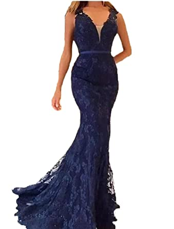 Graceprom Womens Sexy v Neck Navy Blue Mermaid Prom Dress Lace Mermaid Evening Party Gown at Amazon Womens Clothing store: