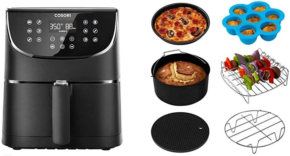 COSORI Air Fryer,Max XL 5.8 Quart,1700-Watt Electric Hot Air Fryers Oven & Oilless Cooker for Roasting,LED Digital Touchscreen & Air Fryer Accessories XL, Set of 6 Fit all 5.8Qt, 6Qt Air Fryer