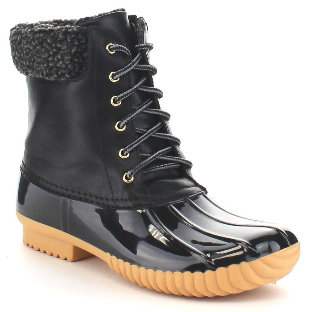 Black-2 Women's Waterproof Rain Booties Duck Padded Mud Rubber Snow Faux Fur Lace Up Ankle Boots