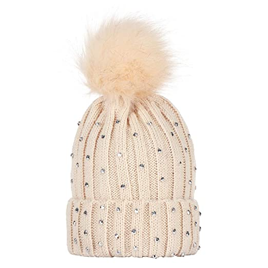 dbae0b7f3b92bb Kids Winter Pom Pom Hat - Rhinestone Knitted Beanie Hats for Children Girls  Boys Original (
