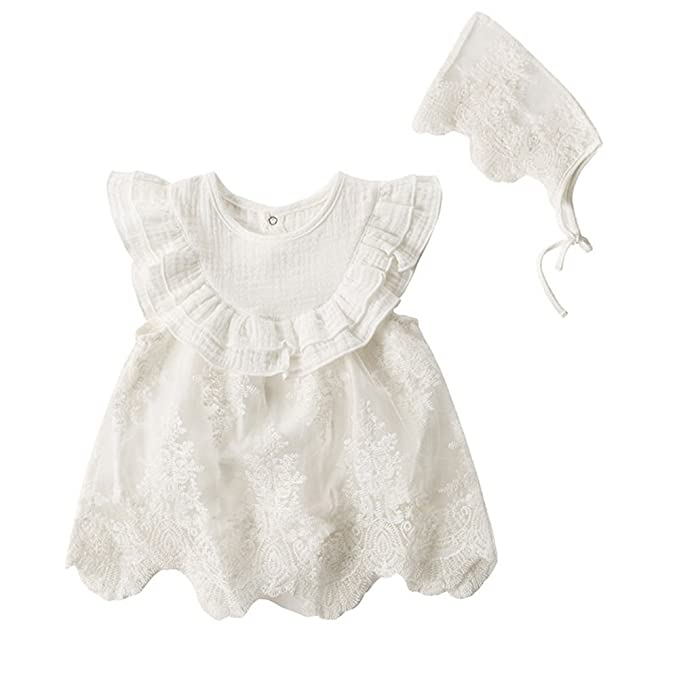 63482338a43b Amazon.com  Fairy Baby Newborn Baby Girls Summer Outfits Embroidery Flower  Ruffle Princess Prom Party Dress  Clothing