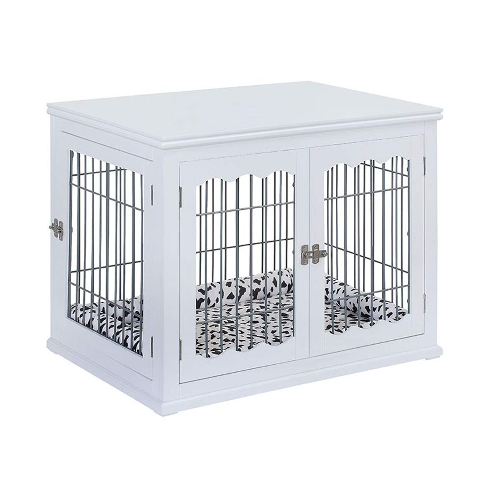unipaws Pet Crate End Table with Pet Bed, Wooden Wire Dog Kennels with Double Doors, Modern Design Dog House Indoor Use, White by unipaws
