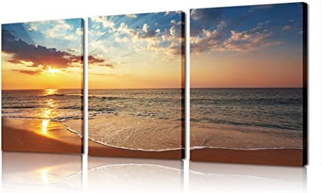 Amazon Com Sea Seascape And Sunset Canvas Wall Art Beach Wave Ocean Wall Art On Canvas For Wall Living Room Bedroom 3 Panels Set Stretched And Framed Print Artwork 16 X20 X3 Panel Posters