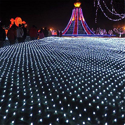 Docheer LED Net Mesh Fairy String Decorative Lights 204 LEDs Outdoor Tree-wrap Lights 8 Modes Low Voltage for Christmas Wedding Garden Decorations Home Garden Warm White,9.84 Ft x 6.56 Ft (Lights Led Net Twinkle)
