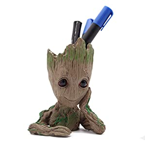 Baby Groot Pencil Holder, Office Organizer, Cute Action Figures Kids Pen Holder Desk Organizer Teachers Gifts Appreciation, Guardians The Galaxy Model Toy Flower Pots Indoor Flowerpot Planter