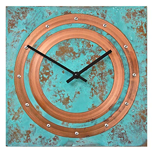 Large Square Turquoise Copper Wall Clock - Rustic Copper Wall Decor