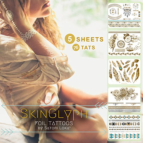 flash-silver-and-gold-metallic-removable-foil-temporary-tattoos-by-skinglyph-76-tats
