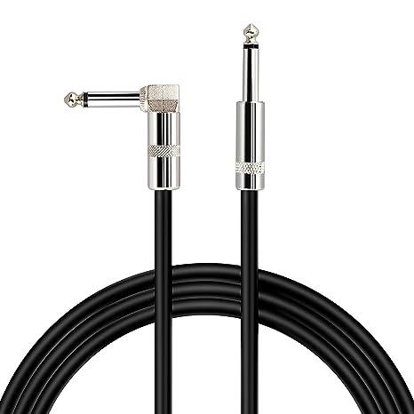 TOOGOO Cable de guitarra para instrumento Jack-Jack codo mono 1/4 pulgada (