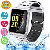 Smart Watch IP68 Waterproof Fitness Activity Tracker for Men Women with Heart Rate Blood Pressure Sleep Monitor Pedometer Wearable Bracelet Wristband for Summer Sport Outdoor Travel Running (Silver)