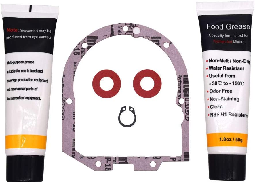 HuthBrother 4162324 Gasket Compatible with Whirlpool WP4162324 Mixer Transmission Case Gasket,With 1.8 Oz 2 x Food Grade Grease