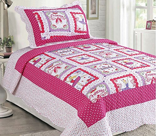 LuxuryDiscounts 2 Piece Pink Polka Dot Ballerina Princess Kids Quilt Bedspread Coverlet Set, Twin QS-31