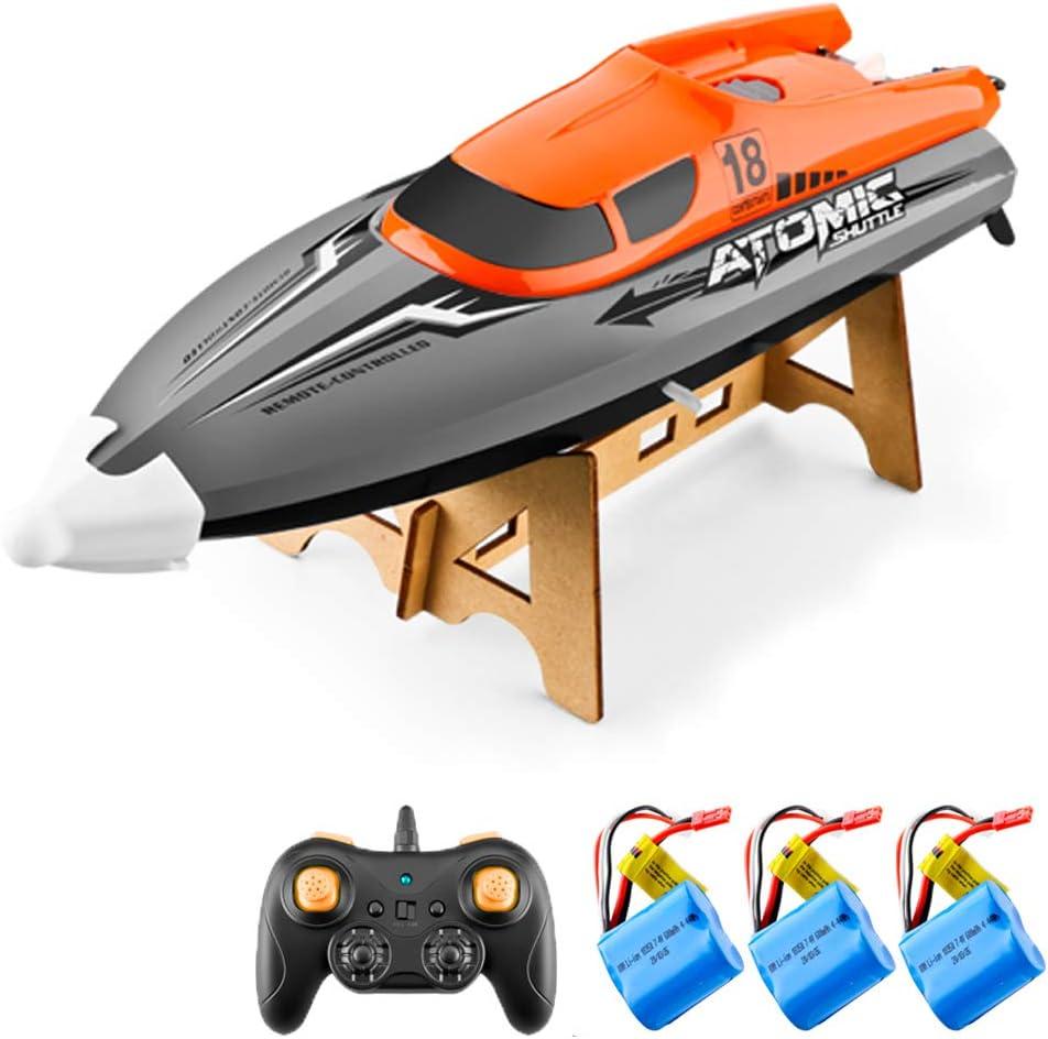 Goolsky Barco RC Control Remoto Barco 30KM / H IPV7 de Alta Velocidad Impermeable 2.4GHz Barco de Carreras de 4 Canales para Niños Adultos (Naranja, 3 Batería)