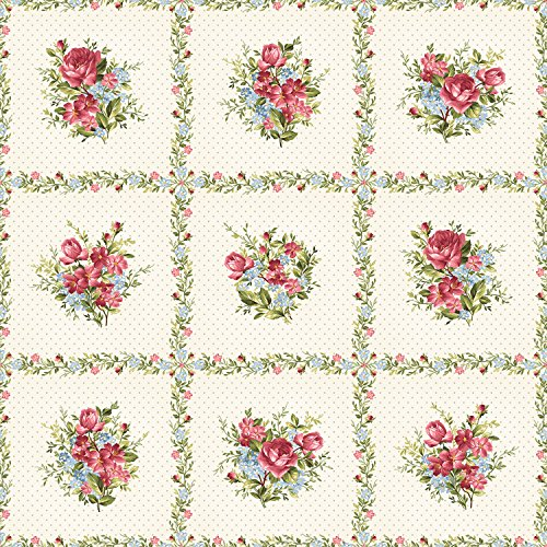 Rose Clusters, Ecru Polka Dots, Panel, Roses on The Vine, Marti Michelle, Maywood (23 inches)