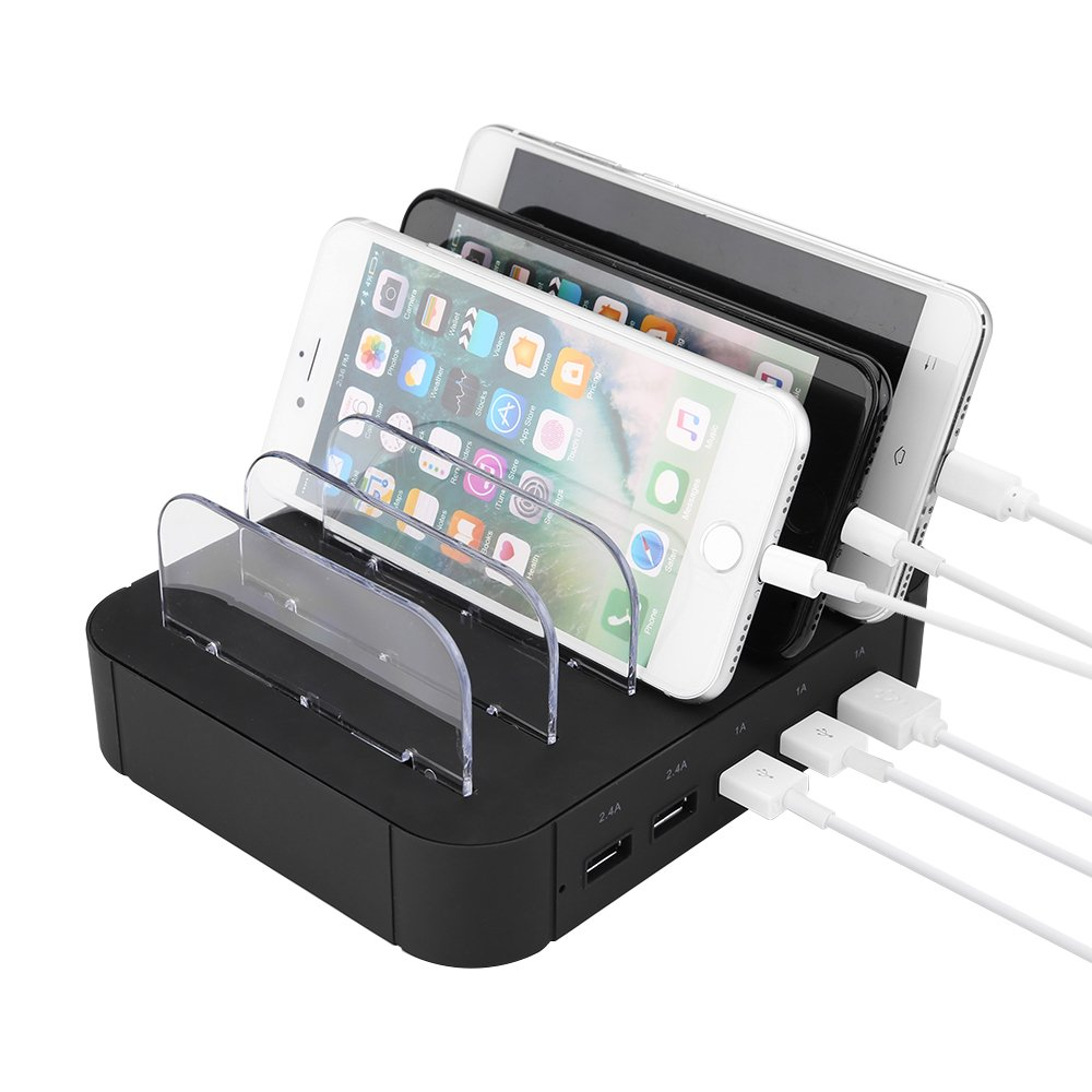 Estación de carga USB,Mbuynow 5 Puertos USB Multi-Cargador Universal 2.4A Tecnología de carga rápida para teléfonos inteligentes Tablets Galaxy Nexus y más