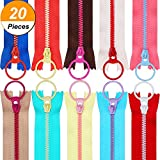 #4: TecUnite 20 Pieces Plastic Resin Zippers with Lifting Ring Quoit Colorful Zipper for Tailor Sewing Crafts Bag Garment (12 Inch)