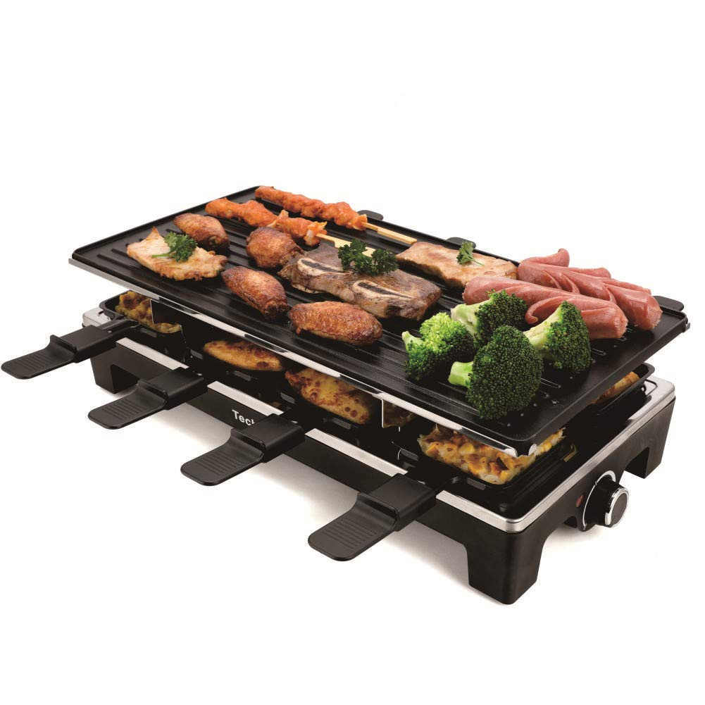 Electric Raclette Grill Techwood Table Grill with Reversible Top Plate - 8 Paddles - Non-Stick Grilling Surface 1500W