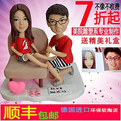aa2817451c7f Custom character mode handmade customized from person photo making figure  model Wedding photos dolls Fimo clay