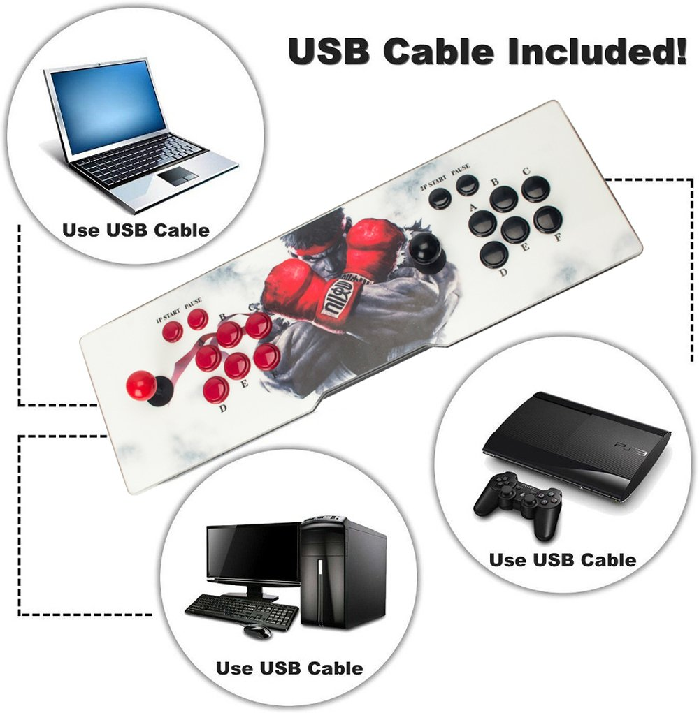 Double Stick Arcade Video Game Console 999 Classic Games 2 Players Pandora's Box 5s with HDMI and VGA Output