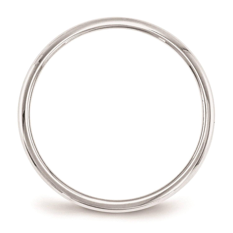10k White Gold 2mm Half Round Wedding Ring Band Size 4-14 Full /& Half Sizes