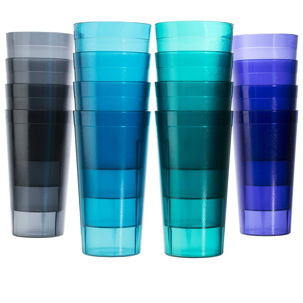 Cafe 20-ounce Break-Resistant Plastic Restaurant-Style Beverage Tumblers | Set of 16 in 4 Coastal Colors by US Acrylic (Image #1)