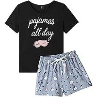 VENTELAN Pajama Set for Women Cute PJS Summer Short Sleeve Shorts Sleepwear