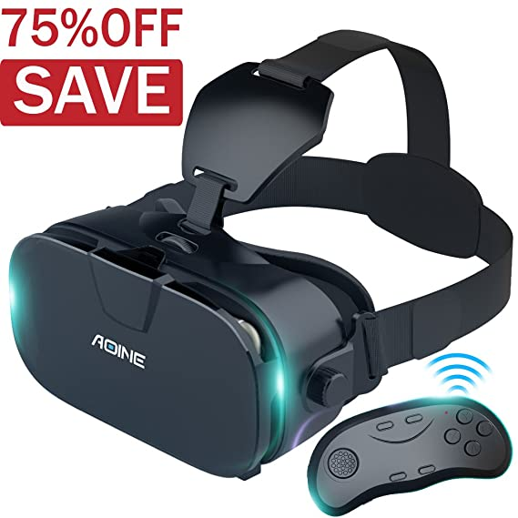 VR Headset With Bluetooth Remote Controller AOINE F3 Virtual Reality Gamepad For Large Viewing