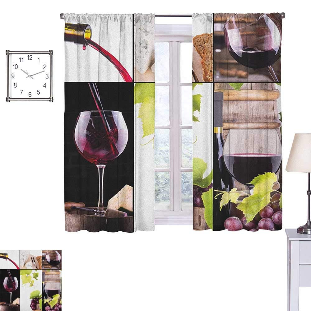 Wine Blackout Draperies for Bedroom Wine Collage with Barrel Bottle Wineglass Grape Gourmet Taste Beverage 55''x 63'',Suitable for Bedroom Living Room Study, etc