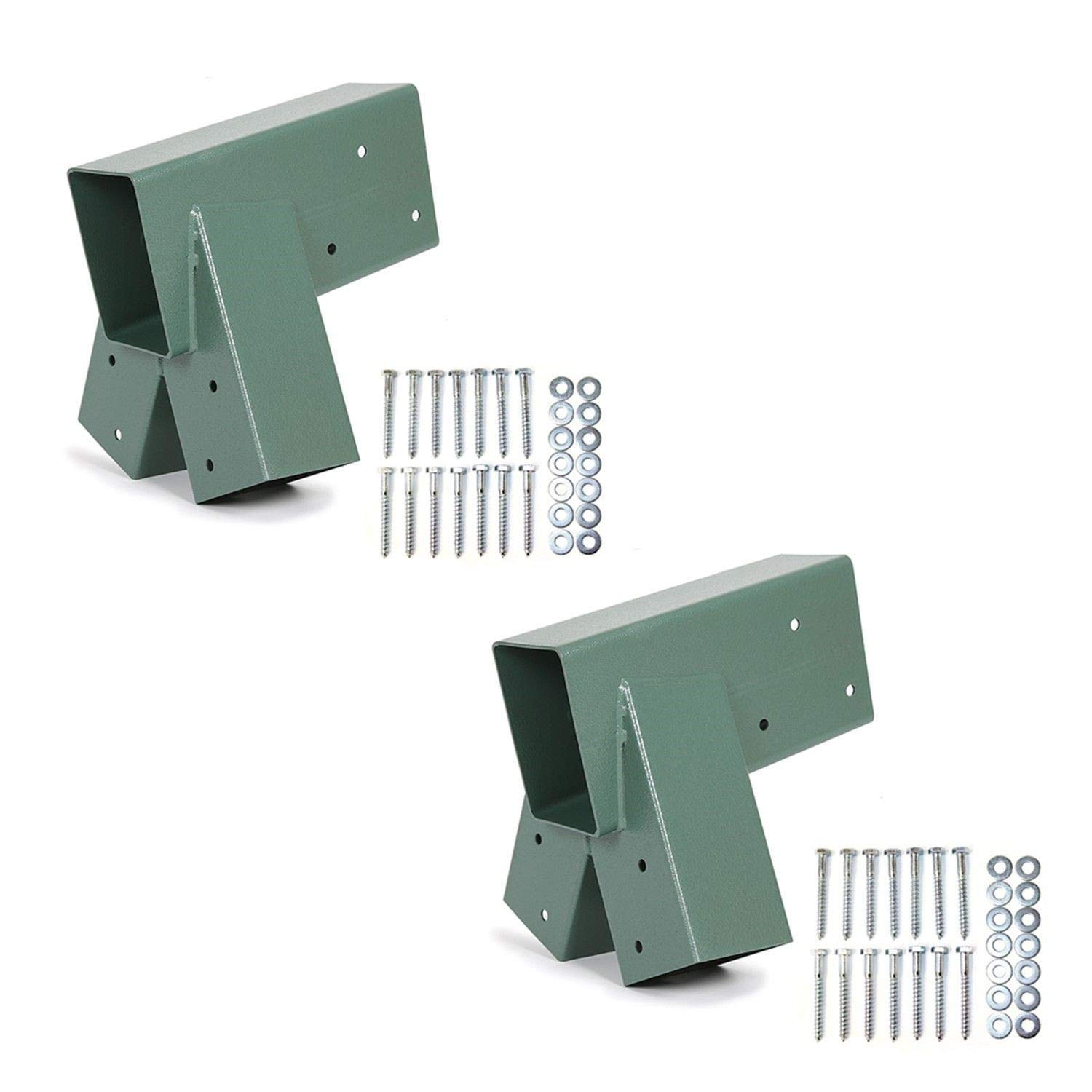 ECOTRIC Easy Install 1-2-3 Heavy Duty Steel A-Frame Swing Set Mounting Bracket Green, All Hardware Include (2 Brackets)