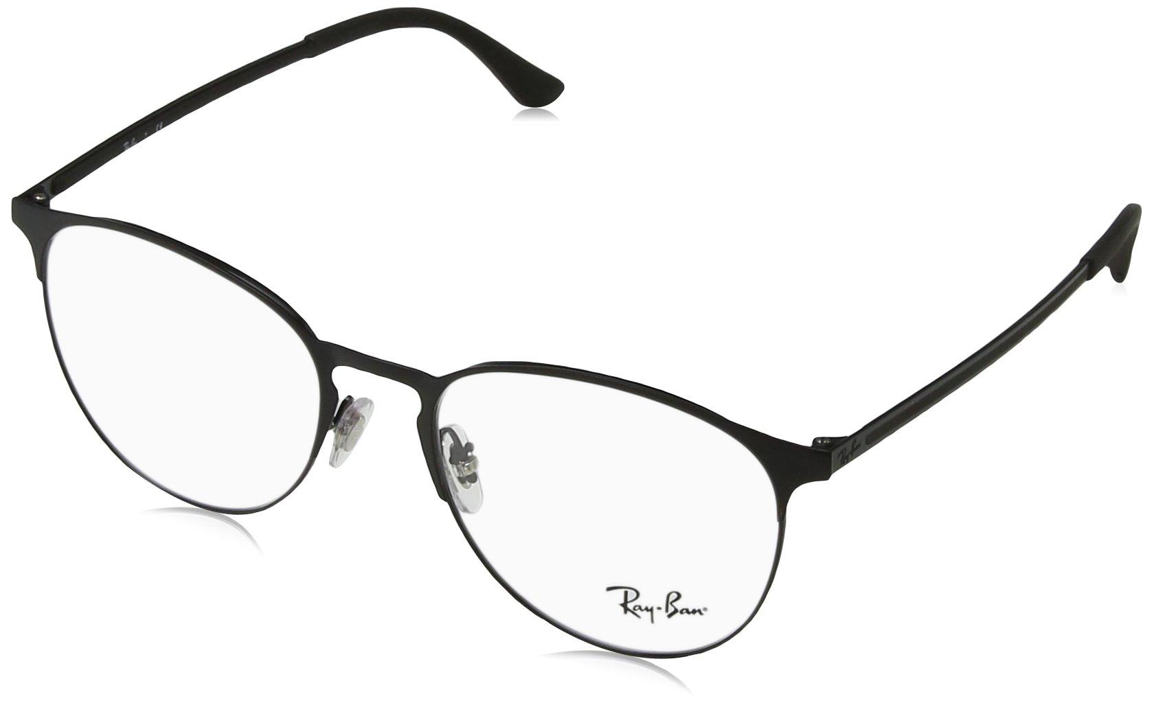 Ray-Ban RX6375 Round Metal Eyeglass Frames, Black On Matte Black/Demo Lens, 53 mm