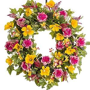 Pink Carnation & Yellow Cosmos Silk Wreath (SW018) - Spring Wreath - Summer Wreath - Everyday Wreath 73