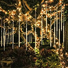 BlueFire Upgraded 50cm 10 Tubes 540 LED Meteor Shower Rain Lights, Drop/Icicle Snow Falling Raindrop Waterproof Cascading Lights for Wedding Xmas New Year Party Tree Decoration (Warm White)