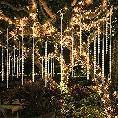 BlueFire Upgraded 50cm 10 Tubes 540 LED Meteor Shower Rain Lights, Drop/Icicle Snow Falling Raindrop Waterproof Cascading Lights for Wedding Xmas New Year Party Tree Decoration (Warm White) - 【SECURITY】 IP65 waterproof low voltage UL Certification plug-in transformer, which can prevent users from electric shock, short circuit causing fires. (NOTE: Please connect the two white arrows on the lead connector face to face, otherwise it won't light up. Refer to the last picture) 【BRIGHTNESS】SUPER BRIGHT SMD2835 LED chips (instead of cheap dim 3528 LED chips) provide 360 degree shining angles, which makes the falling rain lights MUCH BRIGHTER and BEAUTIFUL. The light of every bulb turns on and out one by one in sequence and quickly just like meteor shower or falling snow in the night sky. 【HELICAL TUBE】 Imported transparent PC helical tube is the LATEST tube design, which has good transparency and makes the meteor shower lights more GORGEOUS and UNIQUE. Transparent PC material is corrosion resistant, cost resistant, aging resistant, more durable; free from time and space constraints. Low power consumption and energy saving. - patio, outdoor-lights, outdoor-decor - 61xR7vosUDL. SS400  -
