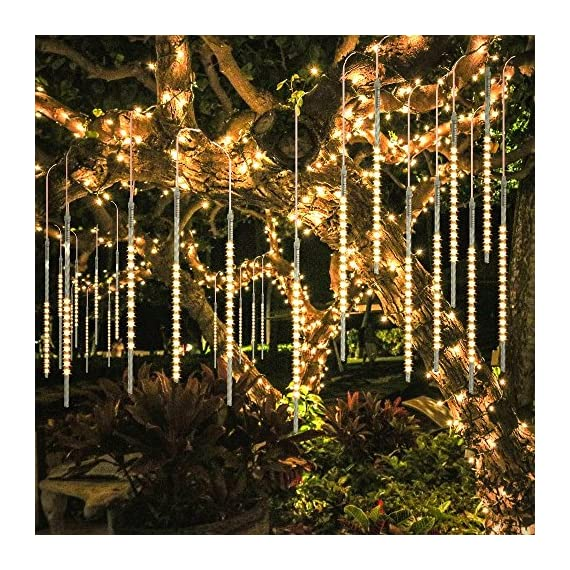 BlueFire Upgraded 50cm 10 Tubes 540 LED Meteor Shower Rain Lights, Drop/Icicle Snow Falling Raindrop Waterproof Cascading Lights for Wedding Xmas New Year Party Tree Decoration (Warm White) - 【SECURITY】 IP65 waterproof low voltage UL Certification plug-in transformer, which can prevent users from electric shock, short circuit causing fires. (NOTE: Please connect the two white arrows on the lead connector face to face, otherwise it won't light up. Refer to the last picture) 【BRIGHTNESS】SUPER BRIGHT SMD2835 LED chips (instead of cheap dim 3528 LED chips) provide 360 degree shining angles, which makes the falling rain lights MUCH BRIGHTER and BEAUTIFUL. The light of every bulb turns on and out one by one in sequence and quickly just like meteor shower or falling snow in the night sky. 【HELICAL TUBE】 Imported transparent PC helical tube is the LATEST tube design, which has good transparency and makes the meteor shower lights more GORGEOUS and UNIQUE. Transparent PC material is corrosion resistant, cost resistant, aging resistant, more durable; free from time and space constraints. Low power consumption and energy saving. - patio, outdoor-lights, outdoor-decor - 61xR7vosUDL. SS570  -