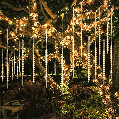 BlueFire Upgraded 50cm 10 Tubes 540 LED Meteor Shower Rain Lights, Drop/Icicle Snow Falling Raindrop Waterproof Cascading Lights for Wedding Xmas New Year Party Tree Decoration (Warm White)]()