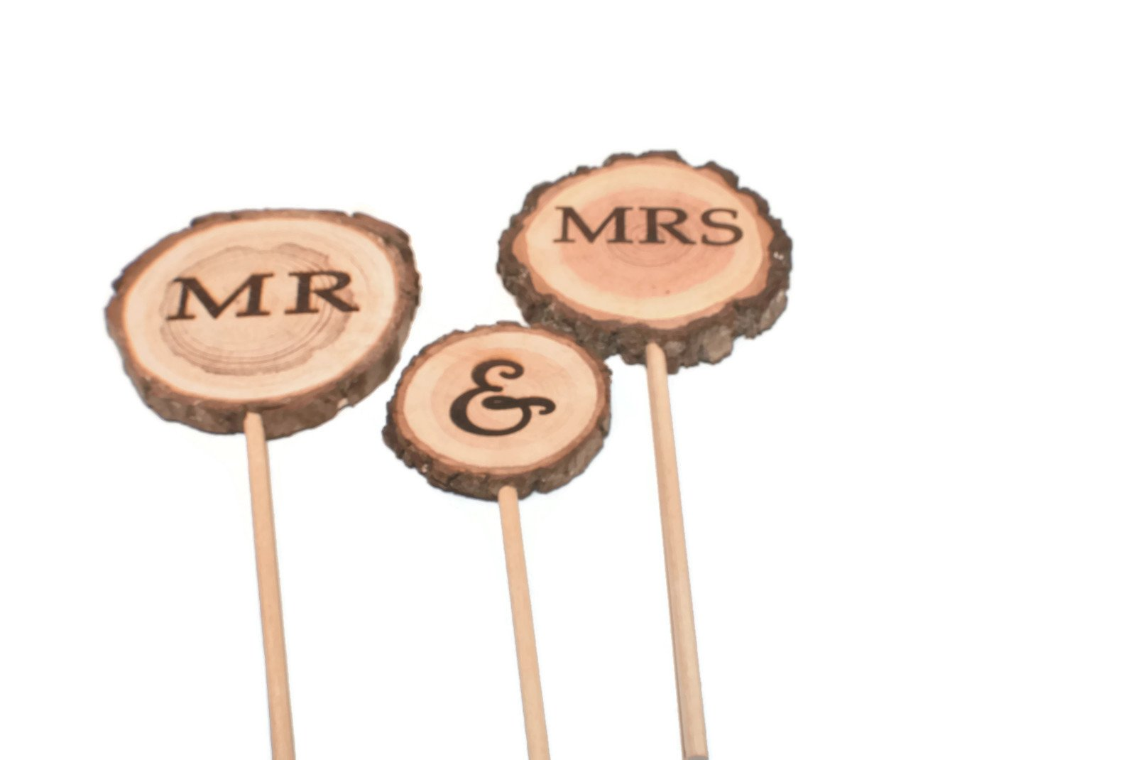 Mr & Mrs Rustic Wedding Cake topper 3 piece set, wood slice cake topper by OzarkCraftWood (Image #1)