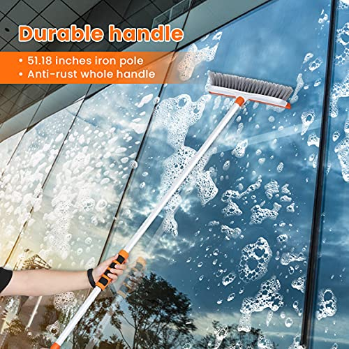 Floor Scrub Brush with Floor Squeegee Scrubber 51'' Detachable Extension Long Handle Stiff Bristle Tub and Tile Brush for Cleaning Shower Bathroom Kitchen