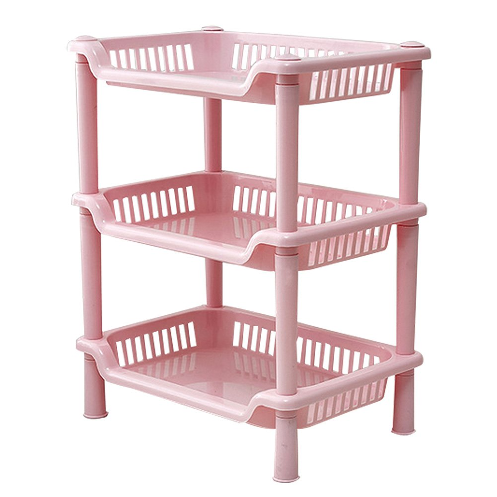 low-cost DINA1985 Bathroom Plastic Storage Shelf for Shampoo Soap Floor Stand Rack 3 Tiers Pink