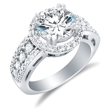 074ef209a564 Solid 925 Sterling Silver Large Wide Round Brilliant Cut Solitaire with  Round Side Stones Highest Quality CZ Cubic Zirconia Engagement Ring 3.5ct.