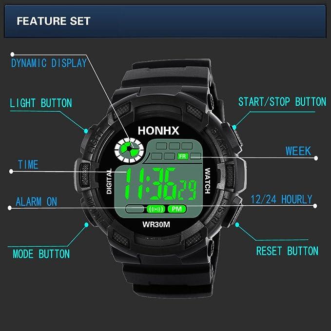 BBestseller Reloj Electrónico Impermeable de Multifunciones Pulsera de Moda Podómetro para Hombre,Relojes Hombre Deportivos (Azul 1): Amazon.es: Relojes