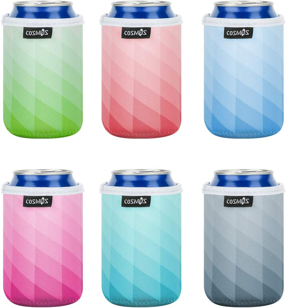 CM Soft Neoprene Standard Beverage Can Sleeves Insulators Regular Standard Can Covers for Standard 12 Fluid Ounce Drink & Beer Cans (Lattic Patterns (6 Pcs))