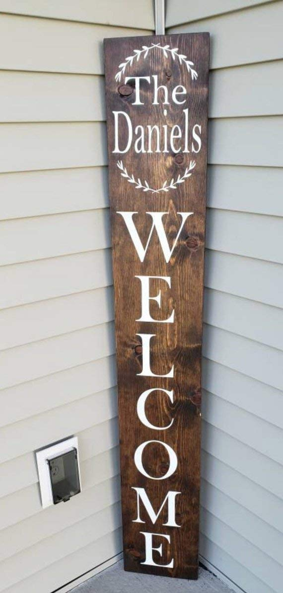 Amazon Com Large Welcome Front Porch Sign Personalized Decor Wood Welcome Sign Handmade