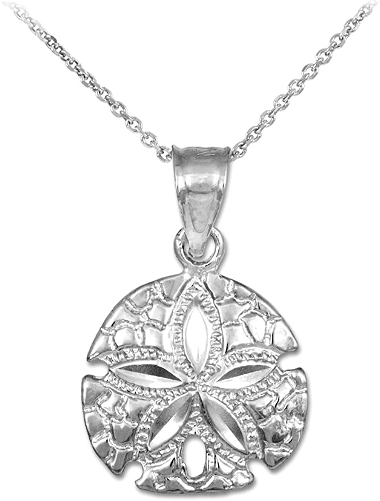 Jewel Tie 925 Sterling Silver Polished Sand Dollar Pendant