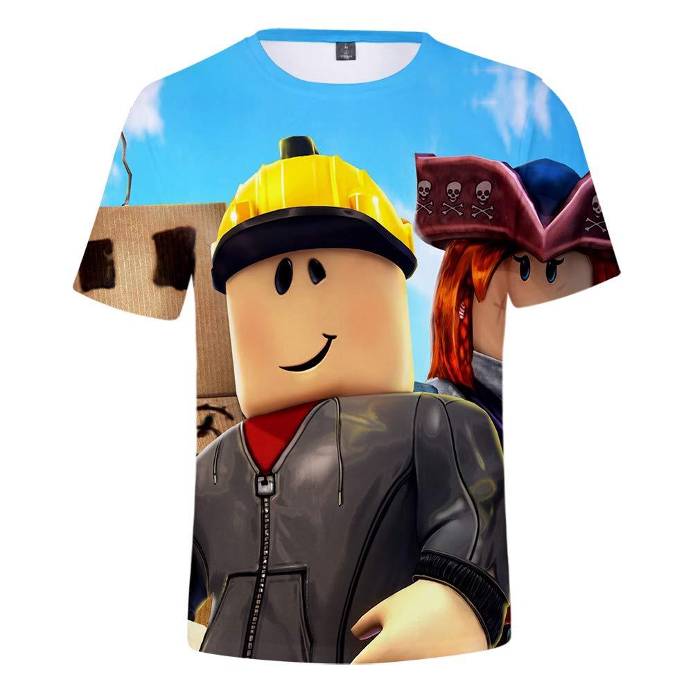 WQWQ Camiseta de Hombre Roblox, Manga Corta con Estampado 3D de Moda, Camisa de Juego Sandbox Slim 100% poliéster XL XXL