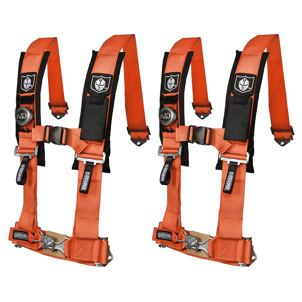 Pro Armor A114220OR Orange 4-Point Harness 2'' Straps, 2 Pack