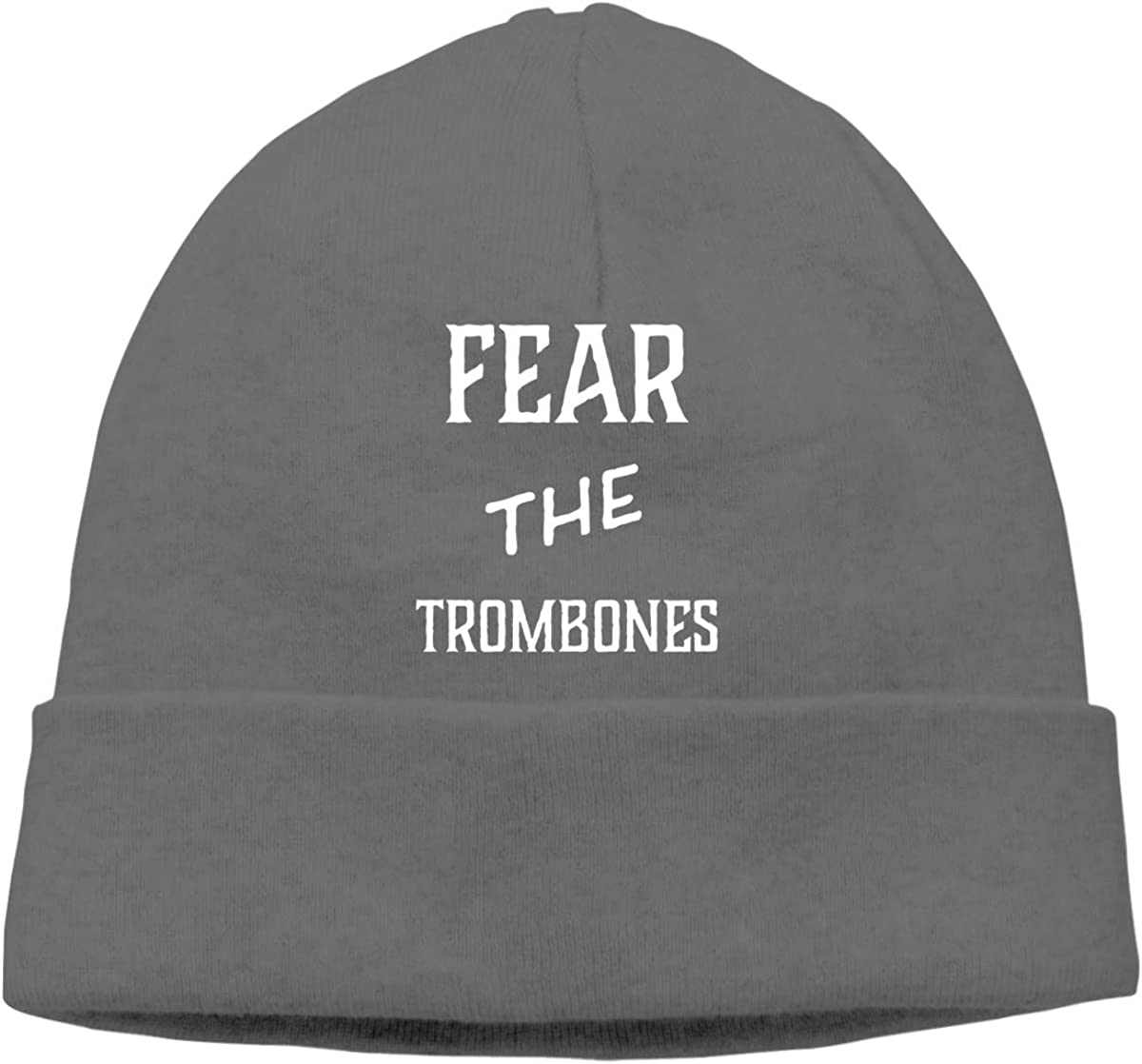 Fear The Trombones Unisex Cuffed Plain Skull Knitted Hat Beanie Cap Men Women Black