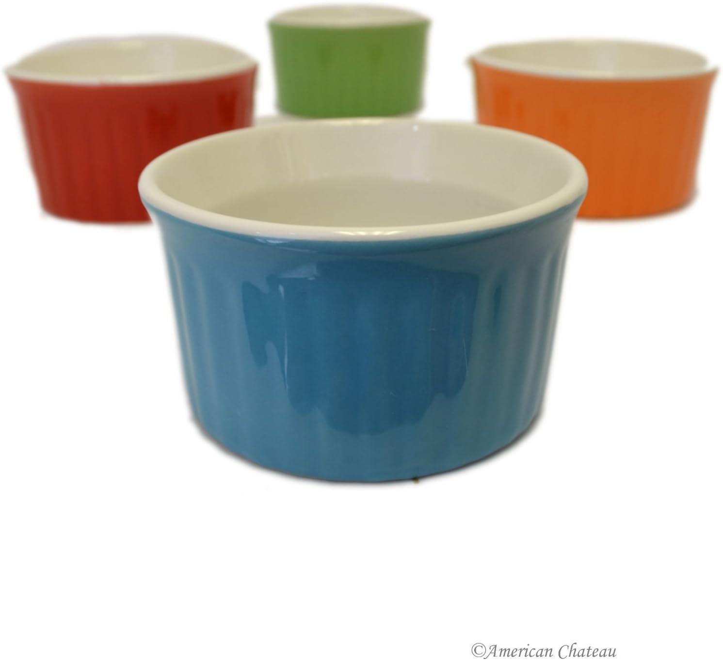 Amazon.com: Set of 7 Colorful Porcelain Oven-Safe Souffle Bowl