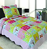 Mk Collection 2 Pc Bedspread Teens/girls Pink Yellow Green Blue Butterfly Floral New 006