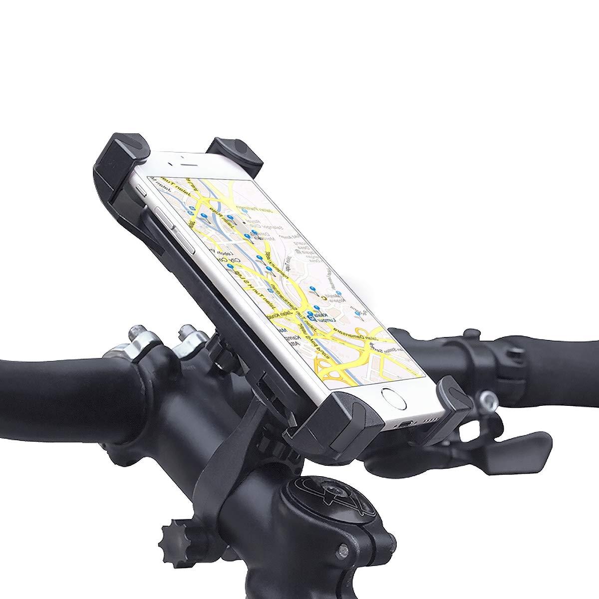 BH005 -Schwarz Fahrrad Handyhalterung MEACOM Handyhalterung Fahrrad Motorrad Handy Halter Fahrradhalterung mit Silikon-Band 360/° Drehbare Handysbreite Outdoor 8.89-15.24cm f/ür Handy und GPS